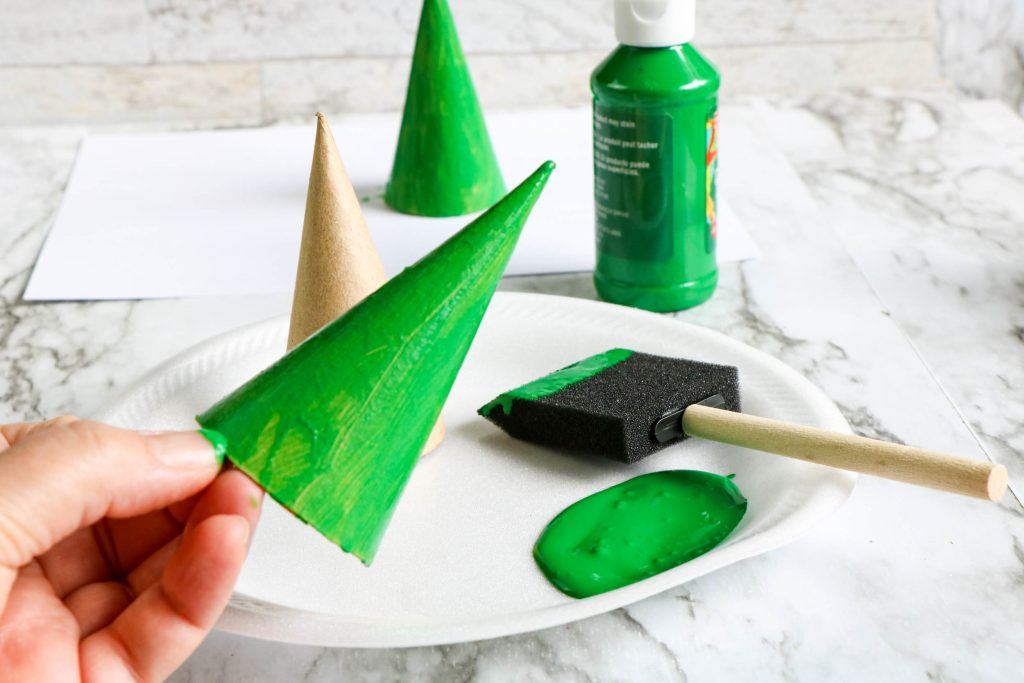 painting paper trees green