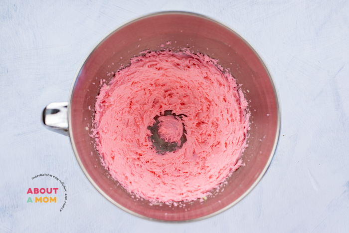 pink frosting in mixer