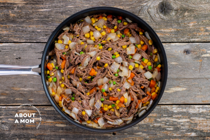 recipe process photo of meat and vegetable mixture