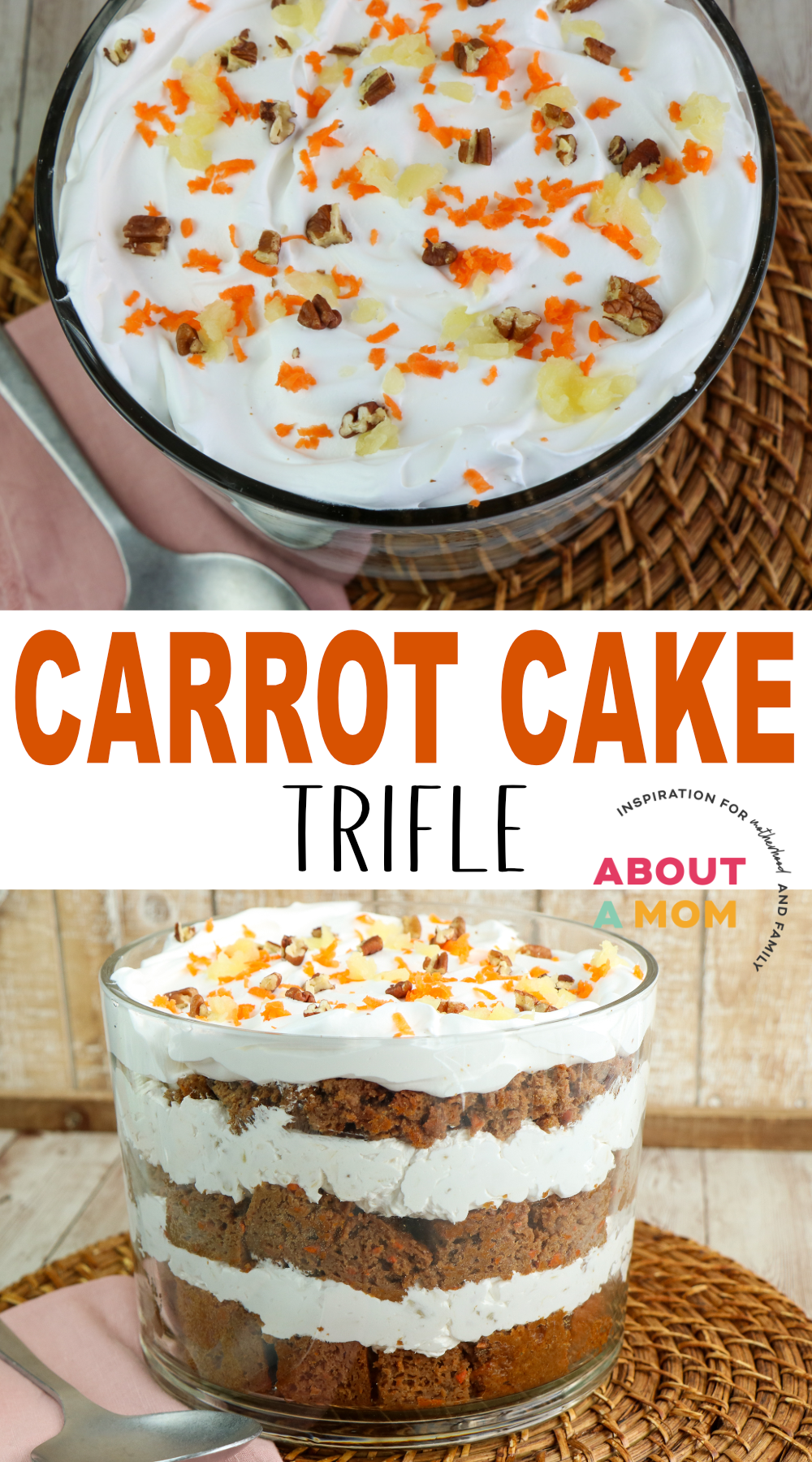 This Carrot Cake Trifle recipe offers a delicious blend of scrumptious carrot cake and whipped cream cheese filling. It will be a hit at any dinner party!
