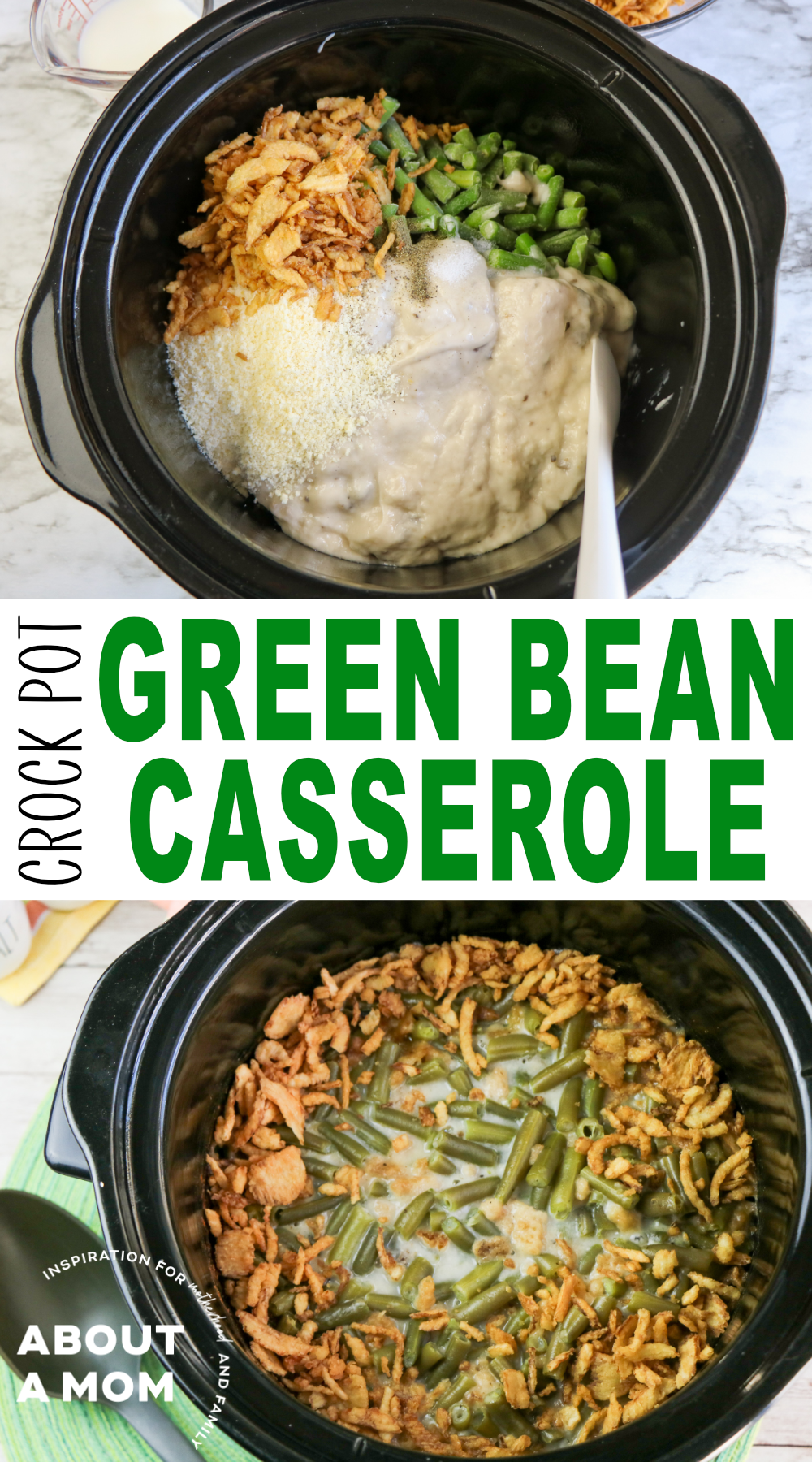 This crock pot green bean casserole is amazingly easy and delicious! Make it for a holiday dinner or anytime you are attending a potluck!