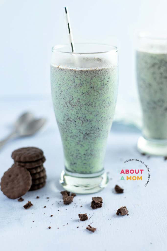 Typically, a grasshopper milkshake is a boozy milkshake that combines ice cream, creme de menthe, and creme de cacao together. In the spirit of St Patrick's Day later this month, I whipped up some tasty kid-friendly Grasshopper Milkshakes! This delicious grasshopper shake is made using mint chocolate chip ice cream and crushed grasshopper cookies.