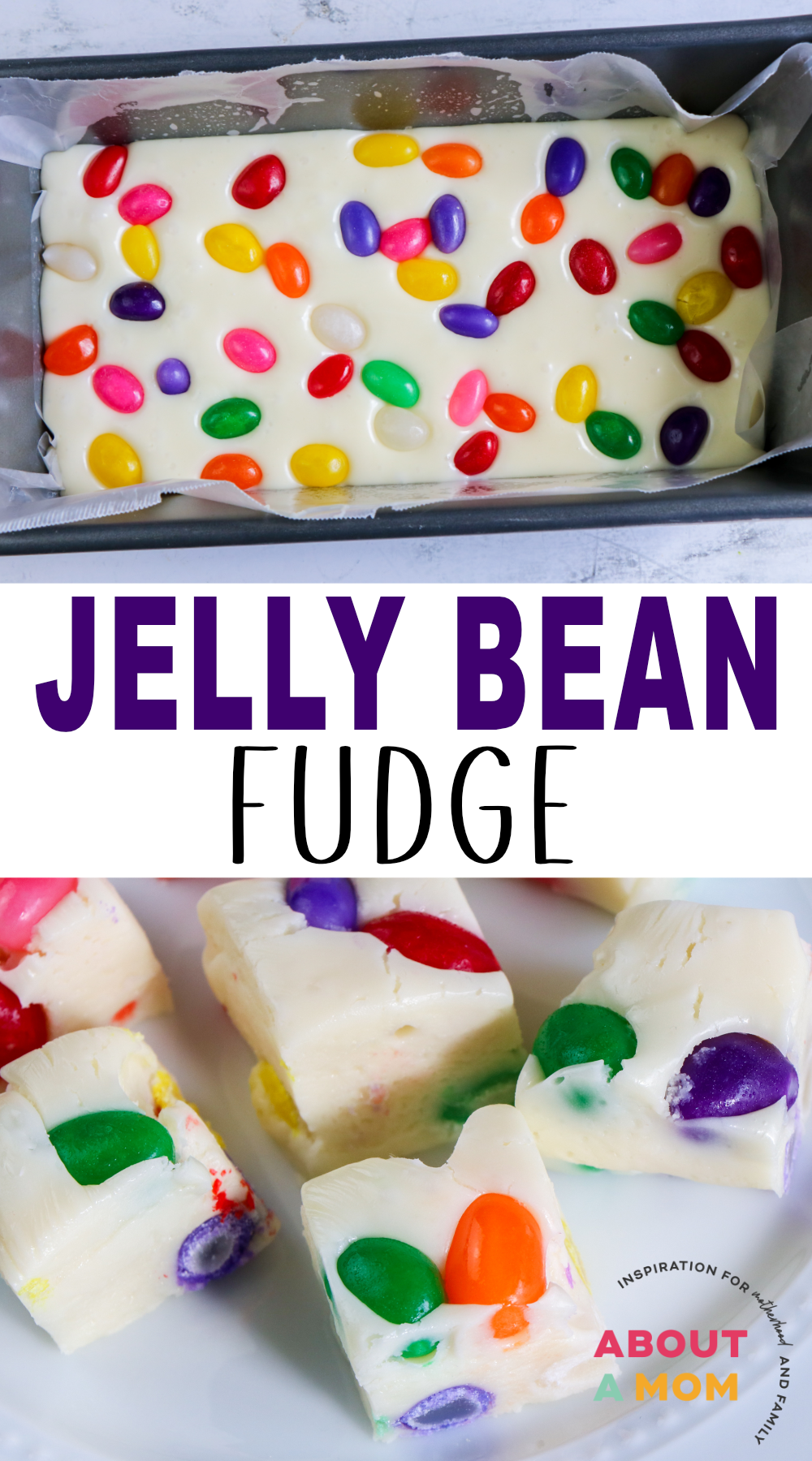 Looking for a sweet Easter treat? This Jelly Bean Fudge is just as delicious as it is beautiful! The beans pop from the fudge like brightly colored Easter eggs. Jelly Bean Fudge is simple to make and the perfect addition to your Easter dessert table.