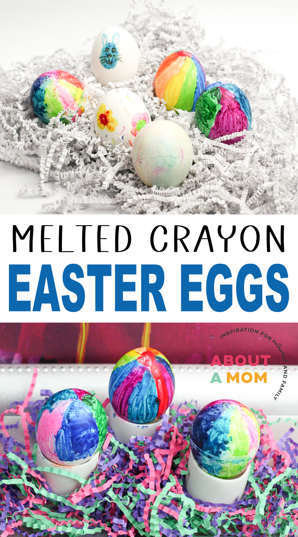 Looking for some Easter fun for kids? Try this melted crayon Easter eggs activity. It is a creative way to decorate eggs this Easter holiday. They are mess free and you won't have to use any smelly vinegar!