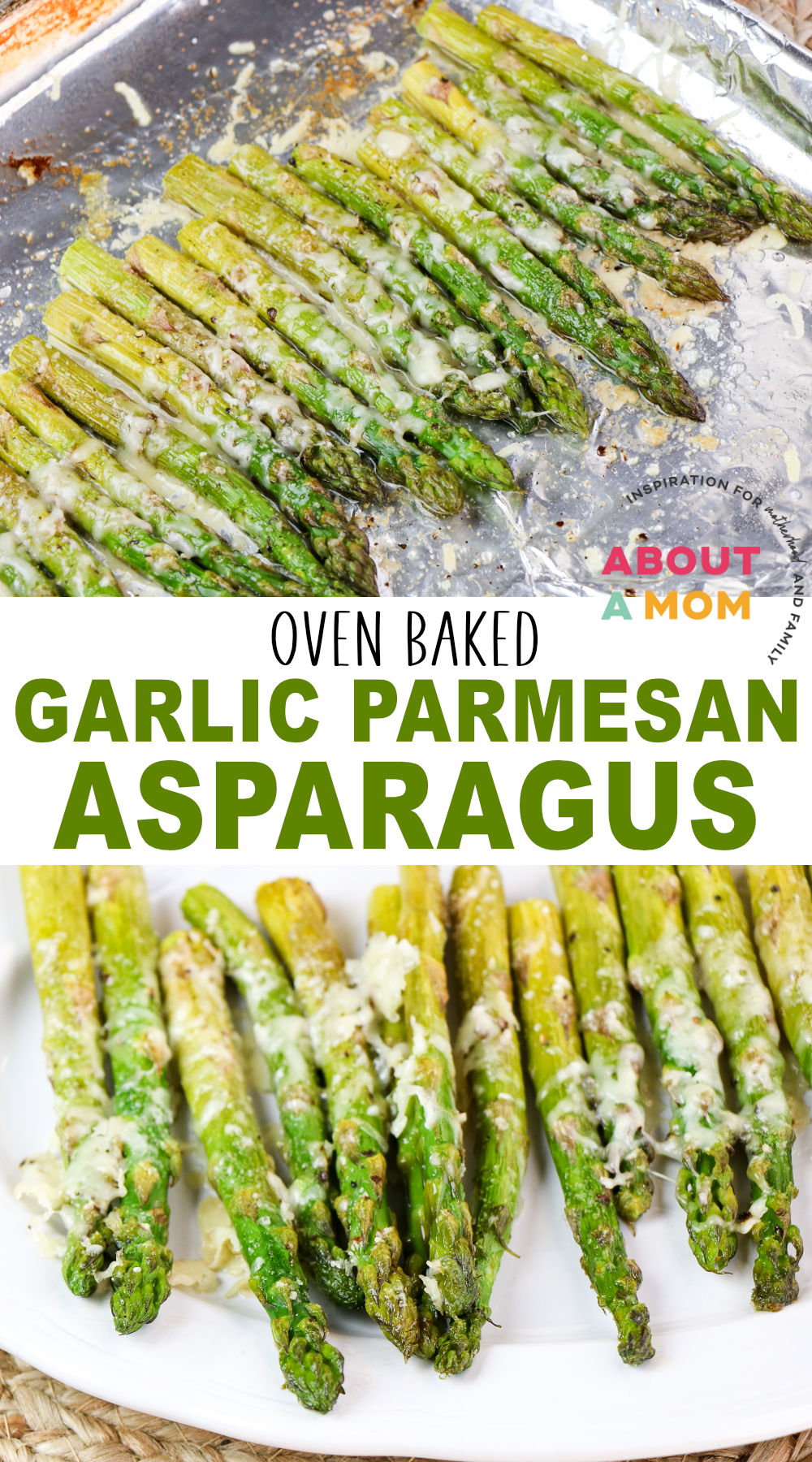 This Oven Baked Asparagus recipe makes a simple side dish that combines the flavors of garlic and parmesan. Great way to introduce a new vegetable side dish at dinner!