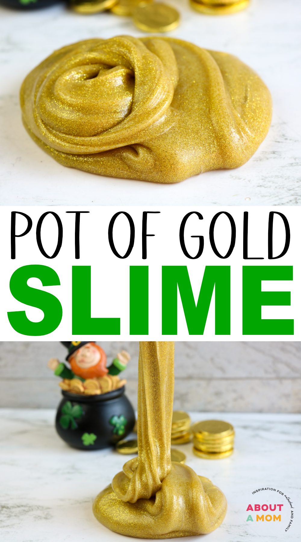 Such a fun St. Patrick's Day activity for kids. St. Patrick's Day activity for kids. Make this pot of gold slime recipe for your children or students to enjoy on St. Patrick's day! Metallic gold slime is so cool!