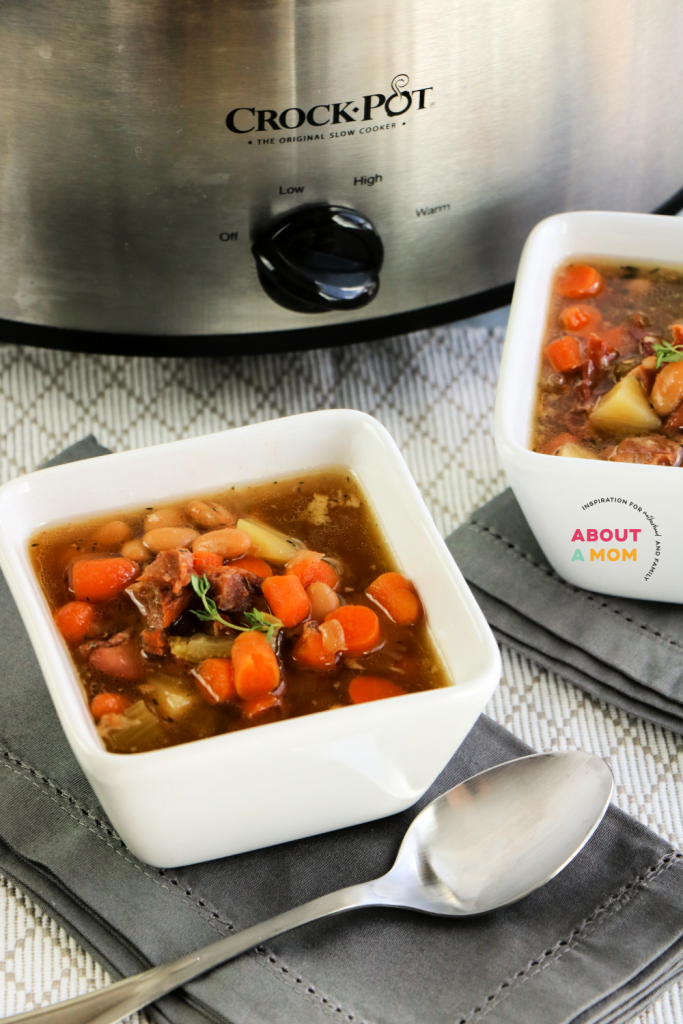 This slow cooker ham bone soup recipe is a great way to use up any leftover ham from Easter, Thanksgiving, Christmas, or anytime! The meat and veggie combo offers a healthy main course loaded with nutrition too!