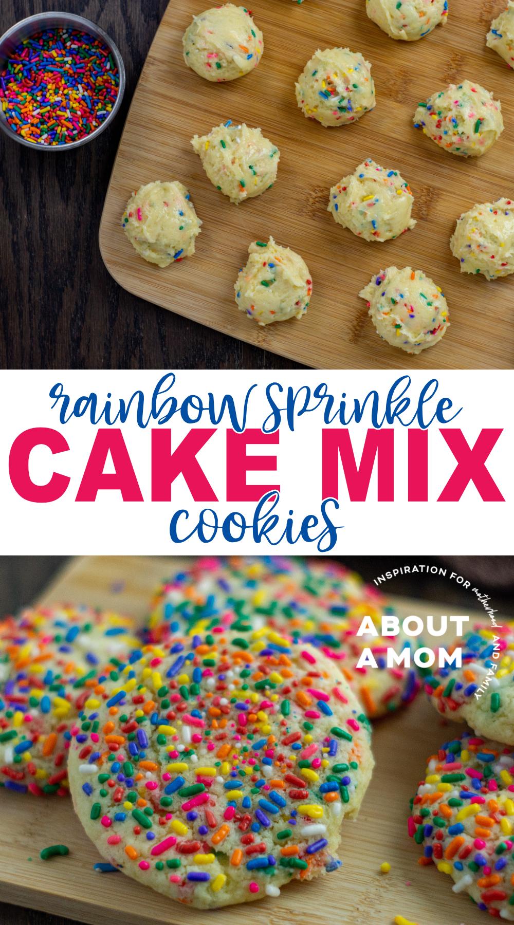 Rainbow Sprinkles White Cake Mix Cookies