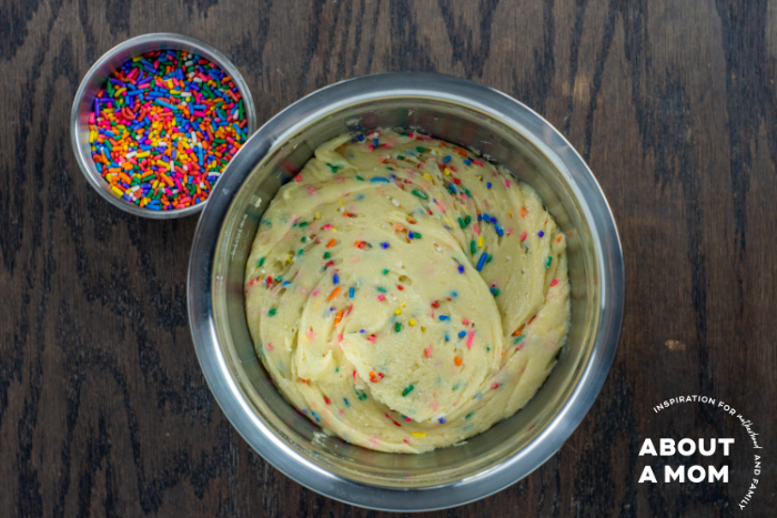 Making White Cake Mix Cookies with Sprinkles