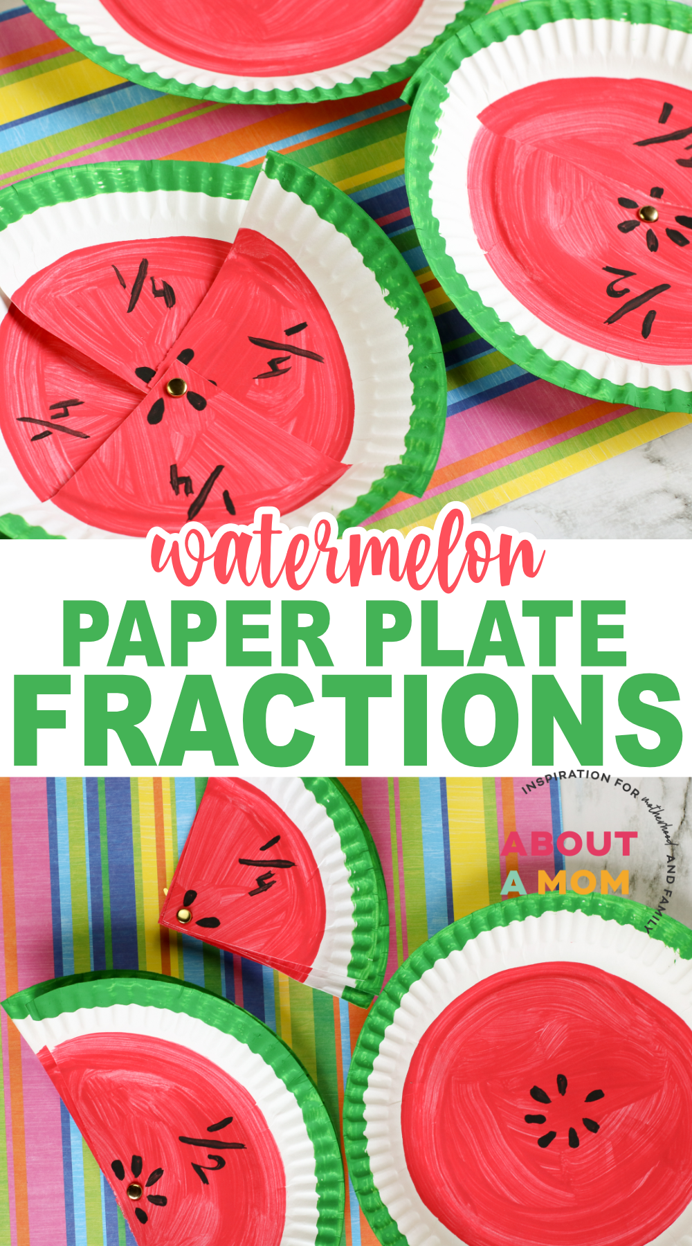 """Use this fun Watermelon Fractions Activity with your kids to prevent the summer """"brain drain"""" during the school break. It's an easy paper plate craft!"""