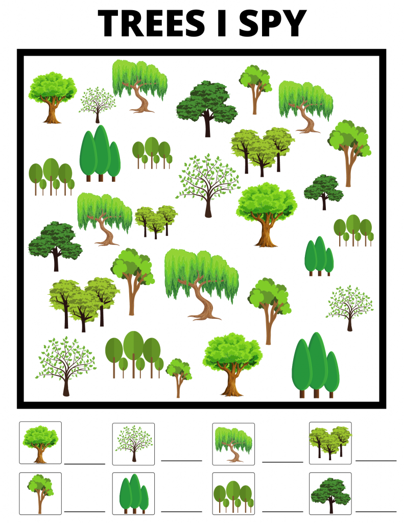 trees I-spy printable