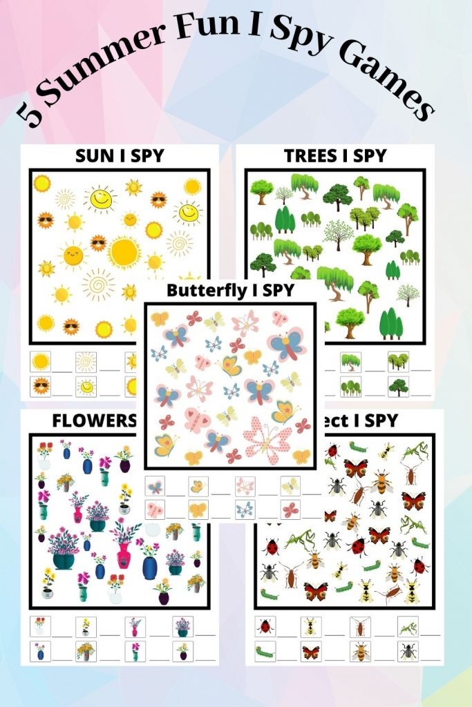 5 summer I spy games printable activity pack