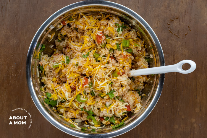 cheesy Mexican rice process, ingredients in bowl