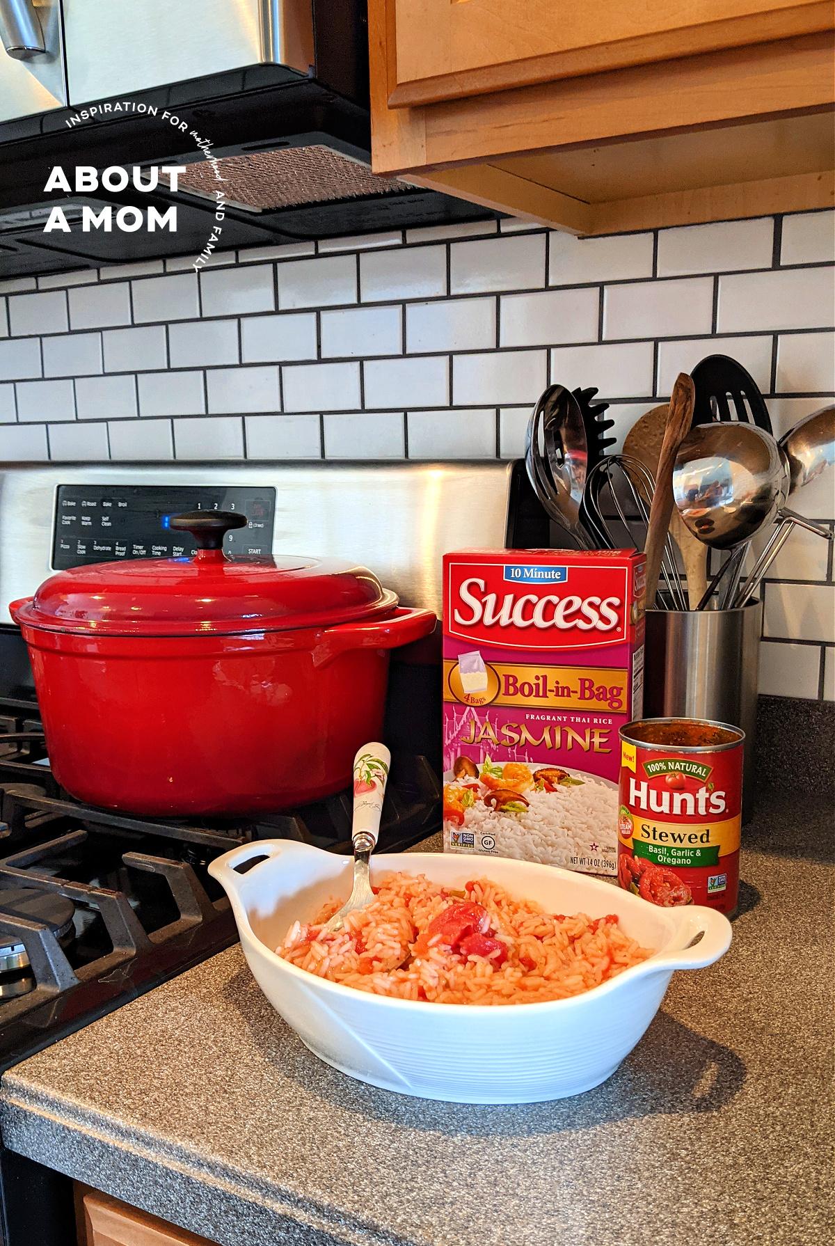 Hunt's Basil, Garlic and Oregano Stewed Tomatoes and Success Rice Jasmine Rice