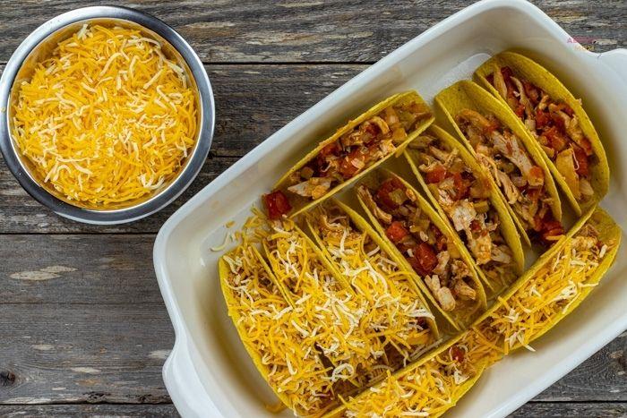 assembling baked chicken tacos