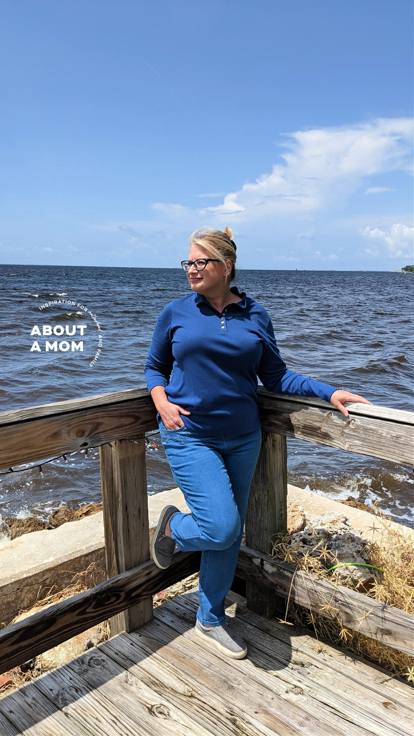woman standing by the ocean in stretch denim jeans from Blair